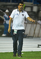 BARRANQUILLA  - COLOMBIA, 11-04-2018: Fernell Díaz director técnico del Atlético Junior contra el Independente Santa Fe durante partido por la fecha 14 de la Liga Águila I 2018 jugado en el estadio Metropolitano Roberto Meléndez de la ciudad de Barranquilla. / Fernell Ruiz coach of Atletico Junior agaisnt Independiente Santa Fe  during match for the date 14 of the Aguila League I 2018 played at Metropolitano Roberto Melendez stadium in Barranquilla  city. Photo: VizzorImage/Alfonso Cervantes /Cont