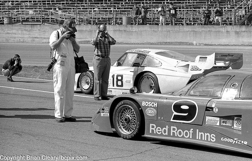 Photographers photograph cars on the grid at the 1982 24 Hours of Daytona, Daytona International Speedway, Daytona Beach, Florida, January 1982. (Photo by Brian Cleary/www.bcpix.com)