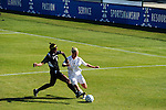 03 DEC 2011: Juane Odendaal (15) of GVSU and Sydney Bond (8) of Saint Rose battle for the ball during the Division II Women's Soccer Championship held at the Ashton Brosnaham Soccer Complex in Pensacola, FL.  Saint Rose defeated Grand Valley State 2-1 to win the national title.  Stephen Nowland/NCAA Photos