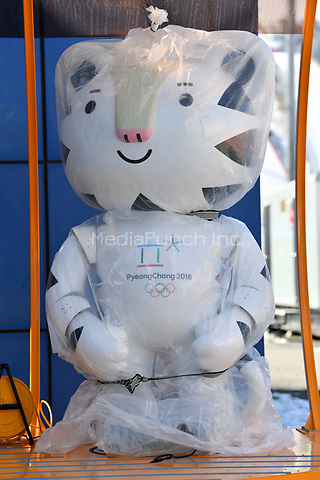 Olympic mascot Soohorang standing still shrink-wrapped at the entrance of the Alpensia Biathlon Centre in Pyeongchang, South Korea, 07 February 2018. The Pyeongchang 2018 Winter Olympics take place between 09 and 25 February. Photo: Hendrik Schmidt/dpa-Zentralbild/dpa /MediaPunch ***FOR USA ONLY***