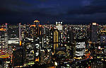Night view of the city of Osaka, Japan.