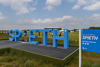 A &quot;Be The &quot;I&quot; in Spieth&quot; sign was an active photo op for golf fans during round 3 of the AT&amp;T Byron Nelson, Trinity Forest Golf Club, at Dallas, Texas, USA. 5/19/2018.<br /> Picture: Golffile | Ken Murray<br /> <br /> <br /> All photo usage must carry mandatory copyright credit (&copy; Golffile | Ken Murray)