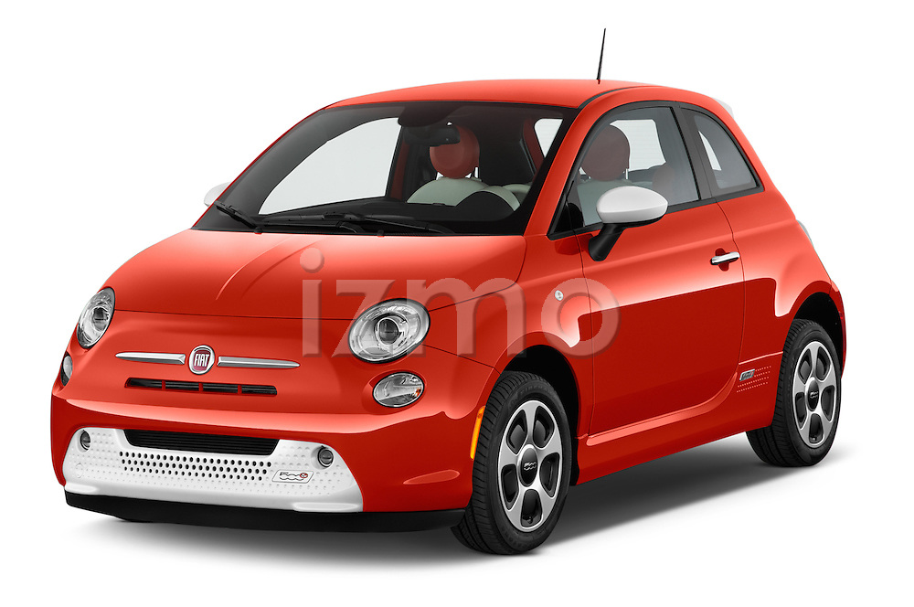 2014 Fiat 500e 3 Door Hatchback Angular Front stock photos of front three quarter view