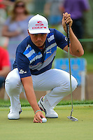 Rickie Fowler (USA) lines up a putt on 2 during round 3 of the Honda Classic, PGA National, Palm Beach Gardens, West Palm Beach, Florida, USA. 2/25/2017.<br /> Picture: Golffile | Ken Murray<br /> <br /> <br /> All photo usage must carry mandatory copyright credit (&copy; Golffile | Ken Murray)