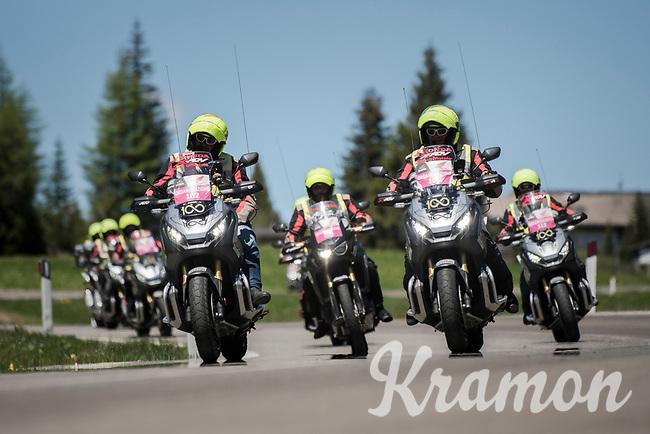 the pre-race moto brigade crossing the Passo Monte Croce Comelico / Kreuzbergpass (1636m) clearing the road ahead<br /> <br /> Stage 19: San Candido/Innichen &rsaquo; Piancavallo (191km)<br /> 100th Giro d'Italia 2017