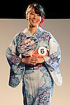 July 27 2012, Tokyo, Japan  The finalist Nanami Noguchi shows her dress at Yukata Beauty Contest in Koichi Festival. Shoko Kondo, one of the 10 finalists of 270 candidates, wins the annual Yukata Beauty Festival at Koichi Festival in Shimbashi, Tokyo. (Photo by Rodrigo Reyes Marin/AFLO)..