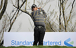 JEJU, SOUTH KOREA - APRIL 23:  Tetsuji Hiratsuka of Japan tees off on the 12th hole during the fog-delayed Round One of the Ballantine's Championship at Pinx Golf Club on April 23, 2010 in Jeju island, South Korea. Photo by Victor Fraile / The Power of Sport Images