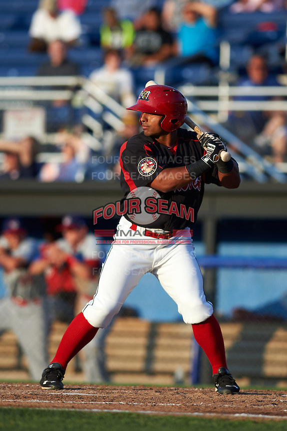 Batavia Muckdogs outfielder Travis Brewster (41) at bat during a game against the Auburn Doubledays July 10, 2015 at Dwyer Stadium in Batavia, New York.  Auburn defeated Batavia 13-1.  (Mike Janes/Four Seam Images)