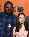 Brian Tyree Henry and Bel Powleys backstage at  the Second Stage Theater Broadway lights up the Hayes Theatre at the Hayes Theartre on February 5, 2018 in New York City.