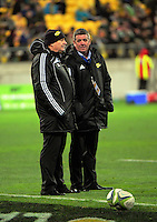 High performance manager Chris Stirling (right) talkks to Hurricanes head coach Chris Boyd during the Super Rugby semifinal match between the Hurricanes and Chiefs at Westpac Stadium, Wellington, New Zealand on Saturday, 30 July 2016. Photo: Dave Lintott / lintottphoto.co.nz