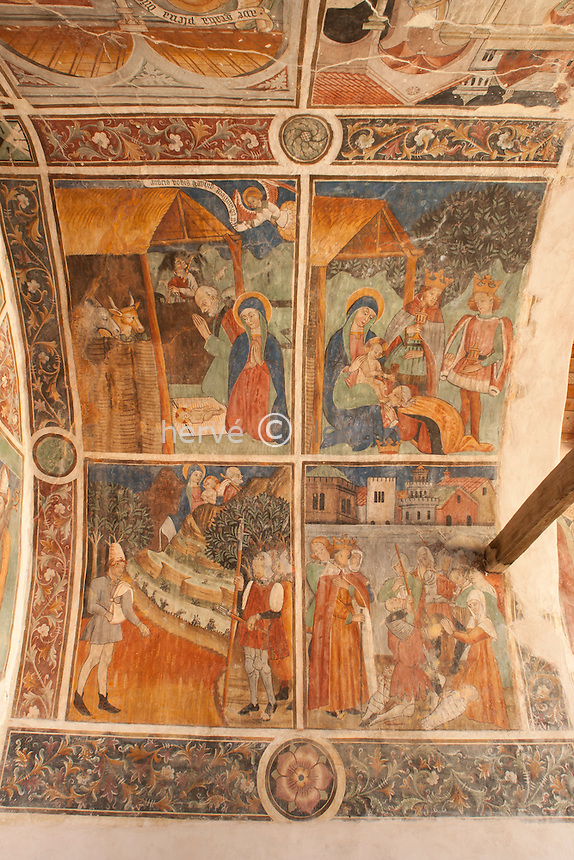 France, Alpes-Maritimes (06), Lucéram, fresques de la chapelle Notre-Dame-de-Bon-Coeur XVéme siècle // France, Alpes Maritimes, Luceram, Frescoes of the chapel Notre Dame de Bon Coeur 15th century