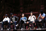 J. Quinton Johnson, Bryan Terrell Clark, Sasha Hollinger, Jordan Fisher and Nik Walker during the Q & A for The Rockefeller Foundation and The Gilder Lehrman Institute of American History sponsored High School student #EduHam matinee performance of 'Hamilton' at the Richard Rodgers Theatre on 2/15/2017 in New York City.