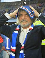 Sampodoria's patron Massimo Ferrero before  the Italian Serie A soccer match between   SSC Napoli and UC Sampdoria at San Paolo  Stadium in Naples ,April 26 , 2015