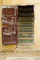 Staircase with tiles, Fez Medina, Morocco.