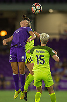 Orlando, FL - Thursday September 07, 2017: Rachel Hill, Carson Pickett, Megan Rapinoe during a regular season National Women's Soccer League (NWSL) match between the Orlando Pride and the Seattle Reign FC at Orlando City Stadium.