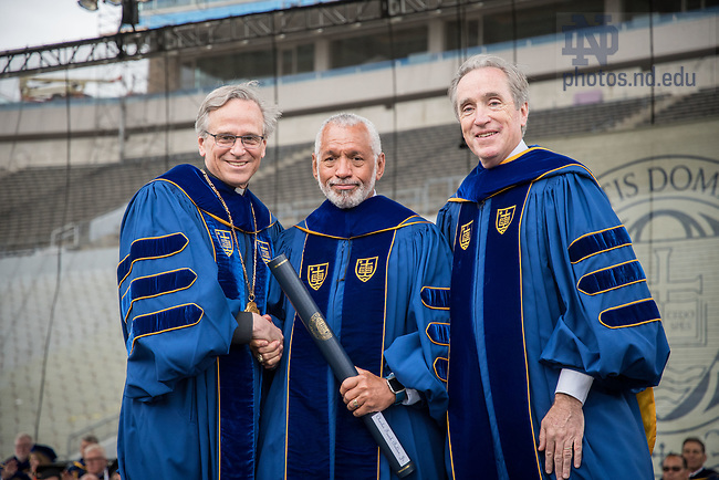 May 21, 2017; Maj. Gen. Charles F. Bolden Jr. receives an honorary degree at Commencement 2017. (Photo by Matt Cashore/University of Notre Dame)