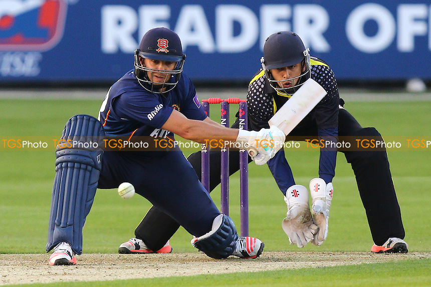 Greg Smith in batting action for Essex as Saf Imtiaz looks on - Essex Eagles vs Essex Premier Leagues XI - T20 Cricket Friendly Match at the Essex County Ground, Chelmsford, Essex - 13/05/15 - MANDATORY CREDIT: Gavin Ellis/TGSPHOTO - Self billing applies where appropriate - contact@tgsphoto.co.uk - NO UNPAID USE