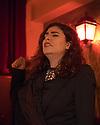 Lisbon, Portugal. 26.03.2015. Filippa Tavares, a Fado singer (Fadista) singing in a restaurant in Alfama, Lisbon, Portugal. © Jane Hobson.