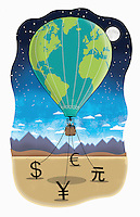 Business people in a hot air balloon at night being held by currency symbols