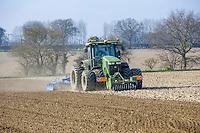 John Deere 7230R with Lemken Kompaktor preparing sugar beet seed bed - Norfolk, March
