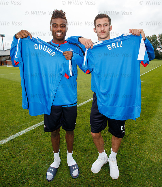 Nathan Oduwa and Dominic Ball at Rangers after training today
