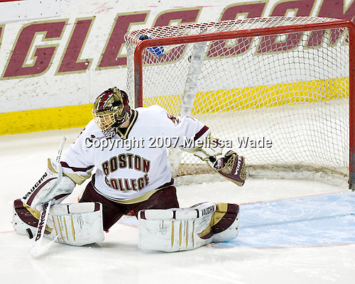 Cory Schneider (Boston College - Marblehead, MA) - The Boston College Eagles defeated the University of New Hampshire Wildcats 4-2 on BC's senior night, Saturday, March 3, 2007, at Kelley Rink at Silvio O. Conte Forum in Chestnut Hill, Massachusetts.