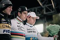 Elite Men's race podium:<br /> 1/ Wout Van Aert (BEL/Crelan-Charles)<br /> 2/ Toon Aerts (BEL/Telenet Fidea Lions)<br /> 3/ Mathieu van der Poel (NED/Beobank-Corendon)<br /> <br /> Superprestige Gavere / Belgium 2017