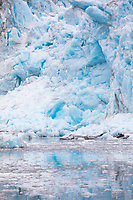 Blue ice of the tidewater Meares glacier in Prince William Sound, Alaska.