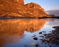 Sunrise light on the Rio Grande River and Santa Elena Canyon;  Big Bend National Park, TX