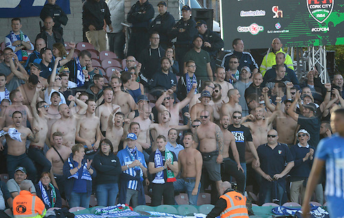 04.08.2016. Cork, Ireland. UEFA, Europa League football qualification round. Cork City versus Racing Genk. Fans of Genk get animated as their team goes ahead