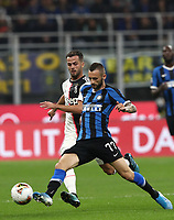 Calcio, Serie A: Inter Milano - Juventus, Giuseppe Meazza stadium, October 6 2019.<br /> Inter's Marcelo Brozovic (r) in action with Juventus' Miralem Pjanic (l) during the Italian Serie A football match between Inter and Juventus at Giuseppe Meazza (San Siro) stadium, October 6, 2019.<br /> UPDATE IMAGES PRESS/Isabella Bonotto