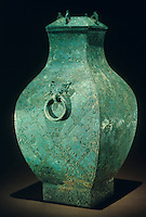 "China:  Square wine vessel (fang hu), late Eastern Zhou, 4th C. B.C. 20 7/8 "" bronze.  Historical Museum in Beijing.  Great Bronze Age of China--exhibition."