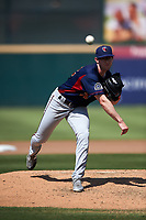 Lancaster JetHawks starting pitcher Brandon Gold (32) follows through on his delivery during a California League game against the Inland Empire 66ers at San Manuel Stadium on May 20, 2018 in San Bernardino, California. Inland Empire defeated Lancaster 12-2. (Zachary Lucy/Four Seam Images)