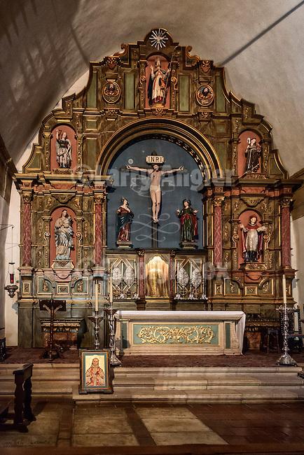 Altar details. crucifix, Carmel Mission, California