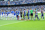 Real Madrid´s players greet Eibar´s players during 2014-15 La Liga match between Real Madrid and Eibar at Santiago Bernabeu stadium in Madrid, Spain. April 11, 2015. (ALTERPHOTOS/Luis Fernandez)