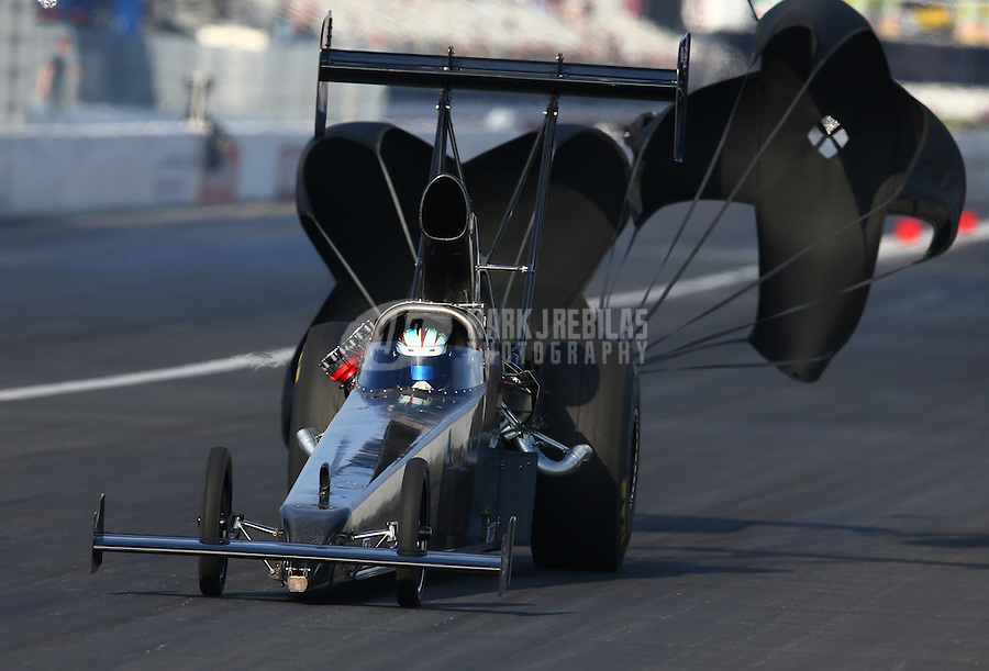 Feb 8, 2014; Pomona, CA, USA; NHRA top alcohol dragster driver Larry Miersch during qualifying for the Winternationals at Auto Club Raceway at Pomona. Mandatory Credit: Mark J. Rebilas-