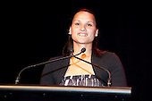 Heb Construction Sporting Excellence Award winner Valerie Adams received on her behalf by her sister. Counties Manukau Sport Sporting Excellence Awards held at the Telstra Clear Pacific Events Centre Manukau on December 1st 2011.