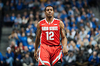 BROOKLYN, NY - Saturday December 19, 2015: A.J. Harris (#12) of Ohio State  and his Buckeyes take on the Kentucky Wildcats as the two teams square off in the CBS Classic at Barclays Center in Brooklyn, NY.