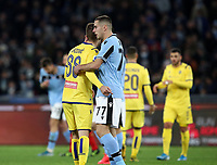 Football, Serie A: S.S. Lazio - Hellas Verona, Olympic stadium, Rome, February 5, 2020. <br /> Hellas Verona's Darko Lazovic (l) greets Lazio's Adam Marusic (r) at the end of the Italian Serie A football match between S.S. Lazio and Hellas Verona at Rome's Olympic stadium, Rome, on February 5, 2020. <br /> UPDATE IMAGES PRESS/Isabella Bonotto