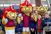 4th November 2017, Villa Park, Birmingham, England; EFL Championship football, Aston Villa versus Sheffield Wednesday; Young fans with the Aston Villa mascots