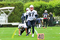 June 6, 2017: New England Patriots tight end Rob Gronkowski (87) warms up at the New England Patriots mini camp held on the practice field at Gillette Stadium, in Foxborough, Massachusetts. Eric Canha/CSM