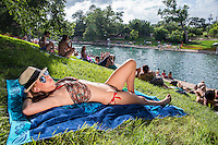 Attractive local Austin woman suntans on the lawn at Barton Springs Pool on a hot summer's day in Zilker Park, Austin, Texas.