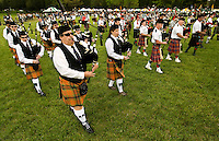Bag pipe bands perform during the Loch Norman games in Huntersville, NC.