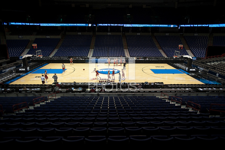 SPOKANE, WA - MARCH 27, 2011:  Off-day pratice session, Stanford Women's Basketball, NCAA West Regionals on March 27, 2011.