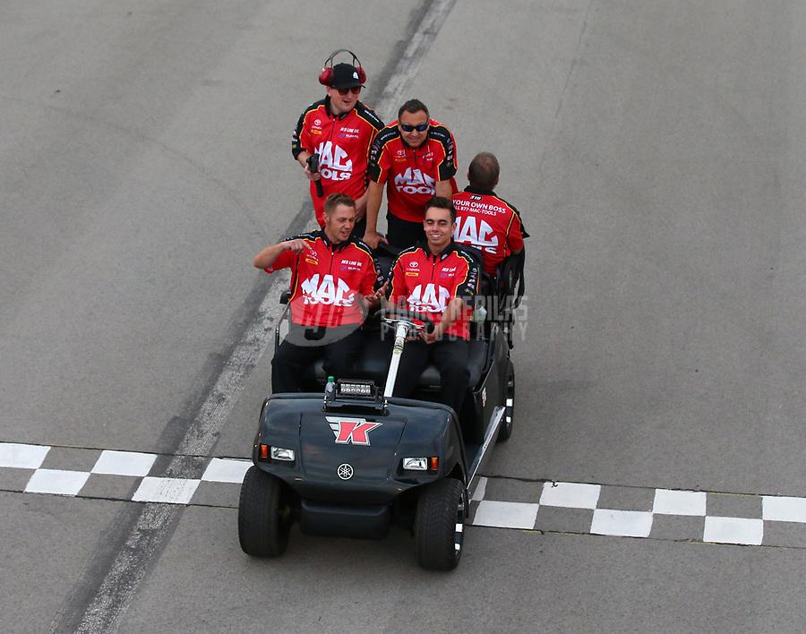May 18, 2018; Topeka, KS, USA; Crew members for NHRA top fuel driver Doug Kalitta during qualifying for the Heartland Nationals at Heartland Motorsports Park. Mandatory Credit: Mark J. Rebilas-USA TODAY Sports