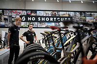 Jack Haig (AUS/Mitchelton-Scott) & Simon Yates (GBR/Mitchelton-Scott) checking the electrical assisted Scott bikes in the Scott showroom after the Team Mitchelton-Scott press conference 1 day ahead of the 106th Tour de France 2019 (2.UWT) 'Grand Départ' in Brussels<br /> <br /> ©kramon