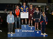 Ryan Black (1st - Morrisville Eaton); Ryan Black (2nd - Warrensburg); Mike Gresh (3rd - Ripley); Kris Stafford (4th Bainbridge-Guilford); Will Carter (5th - Westlake); Pat Carter (6th - Attica) pose on the podium for the Division Two 160 weight class during the NY State Wrestling Championship finals at Blue Cross Arena on March 9, 2009 in Rochester, New York.  (Copyright Mike Janes Photography)