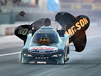 Nov 9, 2018; Pomona, CA, USA; NHRA funny car driver Ray Martin during qualifying for the Auto Club Finals at Auto Club Raceway. Mandatory Credit: Mark J. Rebilas-USA TODAY Sports