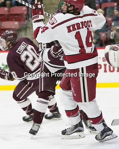 Alexander Kerfoot (Harvard - 14) - The Harvard University Crimson defeated the visiting Colgate University Raiders 7-4 (EN) on Saturday, February 20, 2016, at Bright-Landry Hockey Center in Boston, Massachusetts,