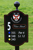 New sign at the 5th tee during the Preview of the AIG Cups & Shields Connacht Finals 2019 in Wesport Golf Club, Westport, Co. Mayo on Thursday 8th August 2019.<br /> <br /> Picture:  Thos Caffrey / www.golffile.ie<br /> <br /> All photos usage must carry mandatory copyright credit (© Golffile | Thos Caffrey)